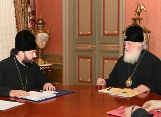 Состоялась встреча Святейшего Патриарха Кирилла с архиепископом Владикавказским и Аланским Леонидом