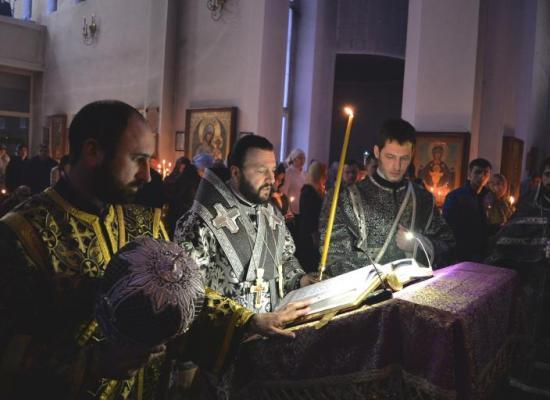 Архиепископ Леонид совершил Пассию в Свято-Георгиевском кафедральном соборе