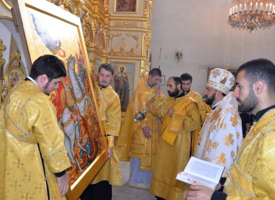 Епископ Леонид совершил освящение иконы святого великомученика Георгия Победоносца для кафедрального собора