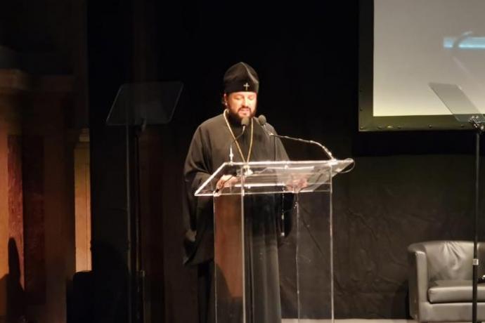 Приветствие Патриарха Кирилла участникам Межрелигиозного форума G20 огласил архиепископ Владикавказский и Аланский Леонид